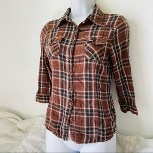 Brown Plaid Button Down Shirt